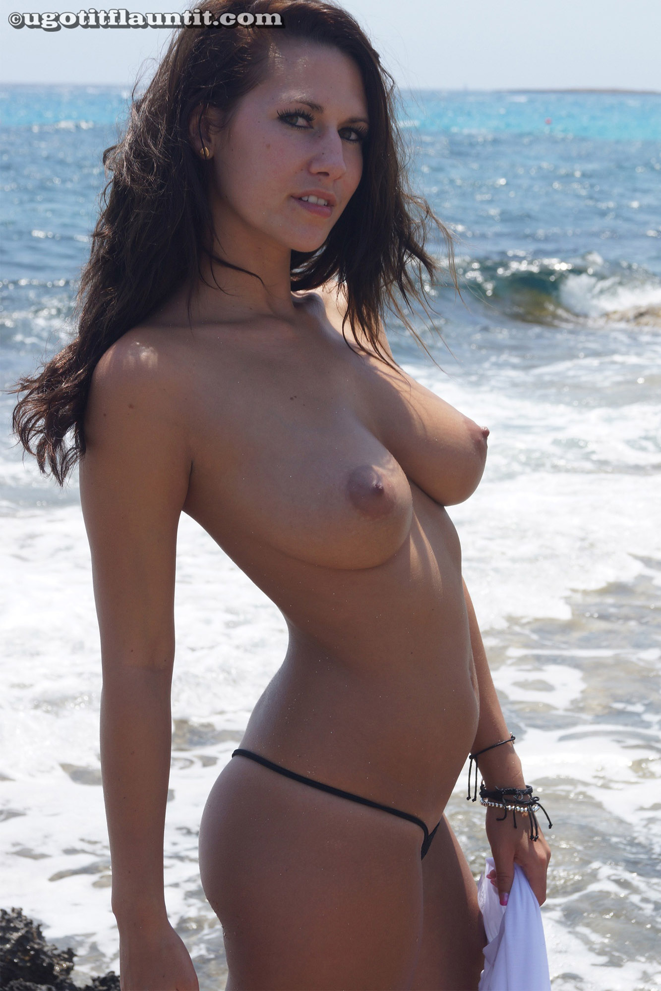 Great Boobs Topless On The Beach Video