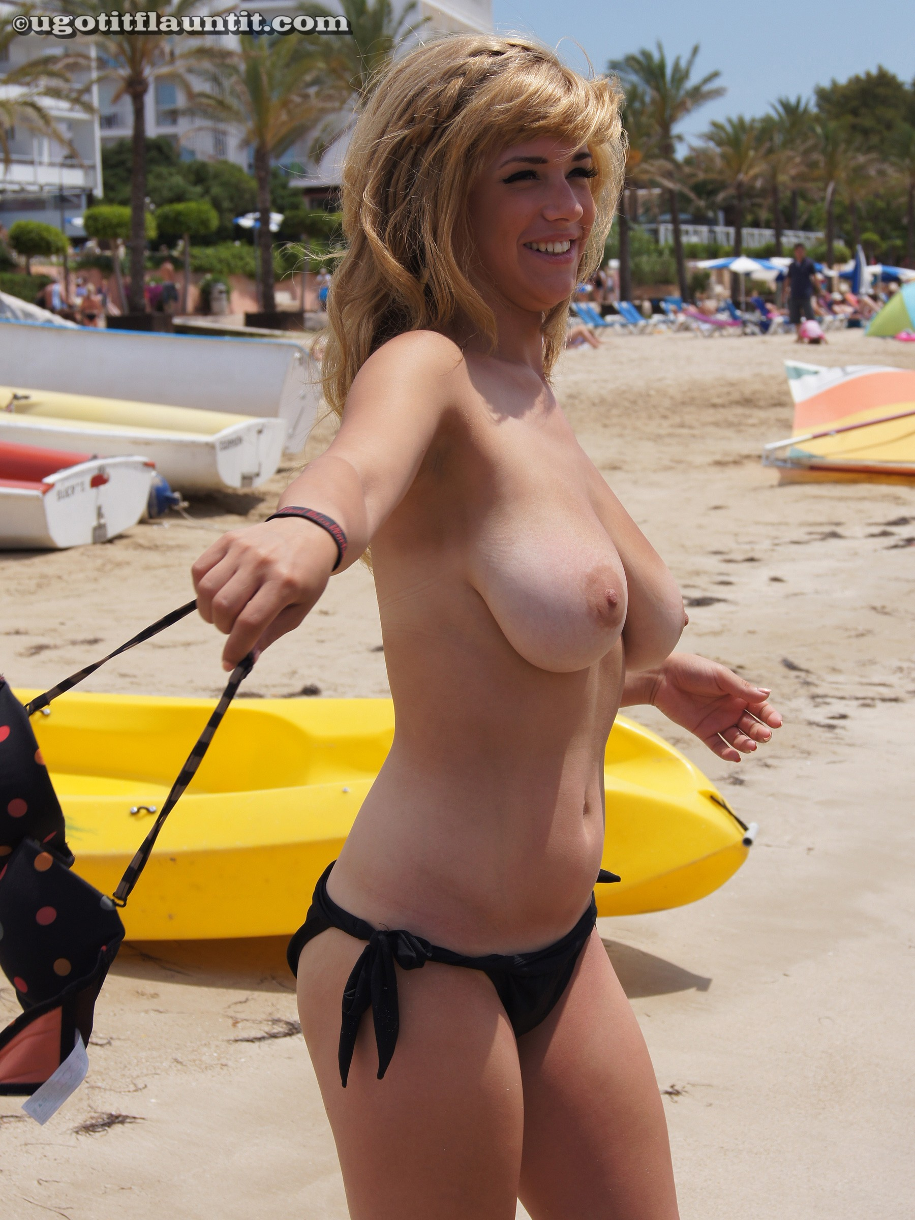 Women with huge natural tits showing them off in public