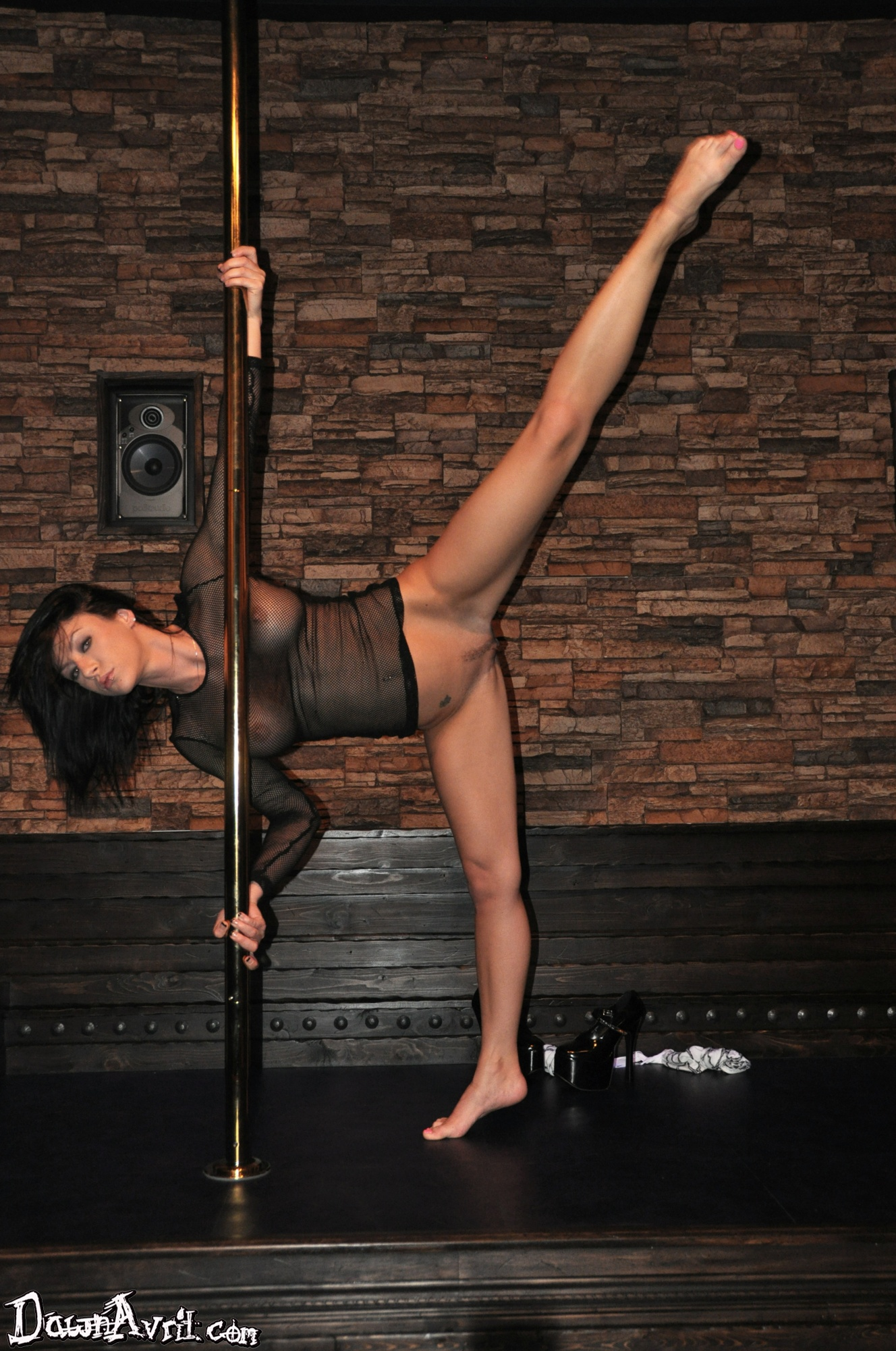 girls stripping on poles naked