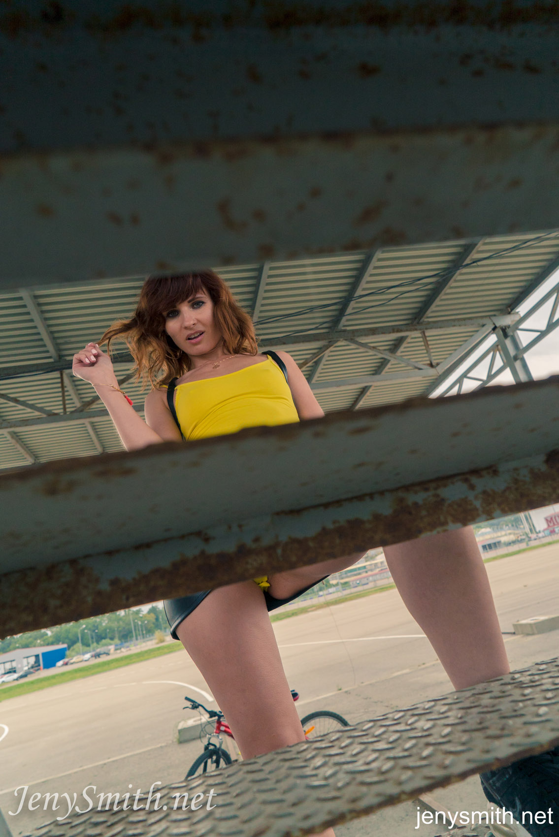 Public upskirt no panties hairy pussy agree, amusing