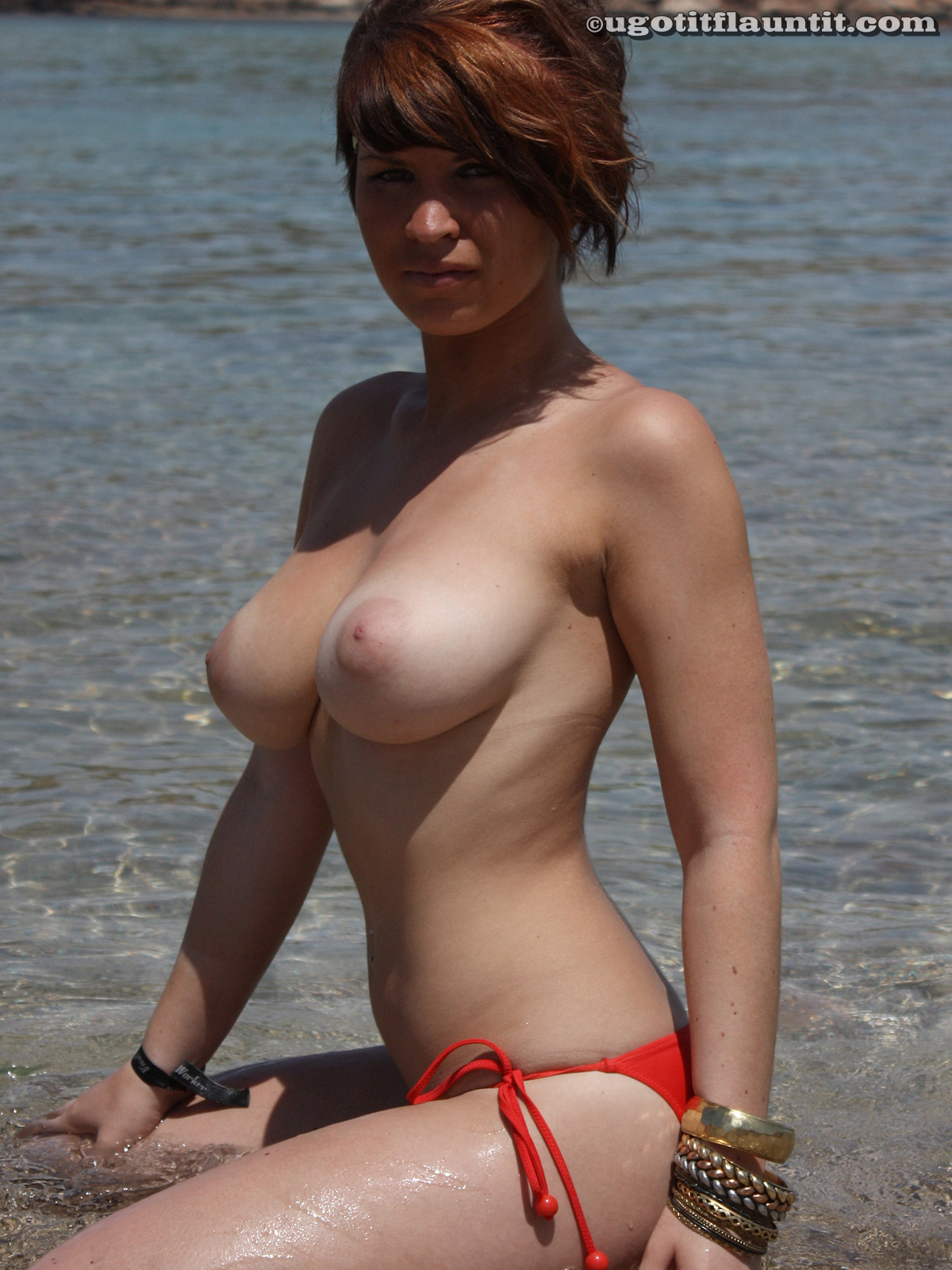 Did Busty asian red bikini beach