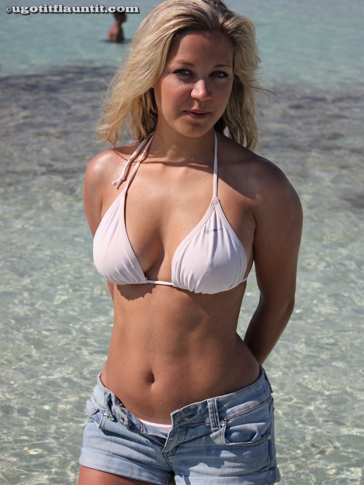 Bikini blonde boobs porn