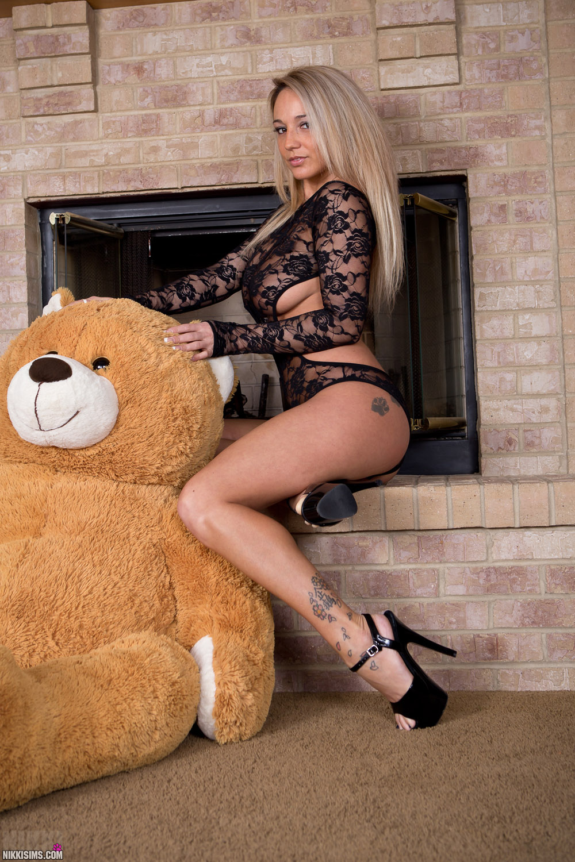 Nude girls with bear