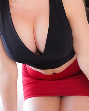 Alena Croft Black Crop Top and Red Mini Skirt