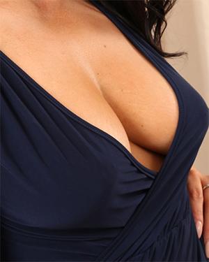 Ashley Blue Dress Cleavage
