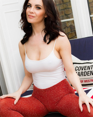 Emma Glover Sexy Tight Red Leggings