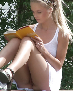 German Girl Reads Without Panties