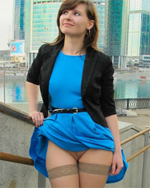 Jeny Smith Blue Dress Pussy