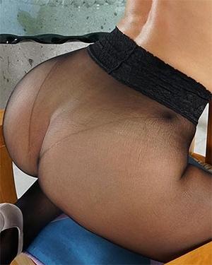 Lorena Garcia Black Stockings Booty