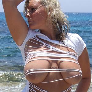Mel Big Beach Boobs