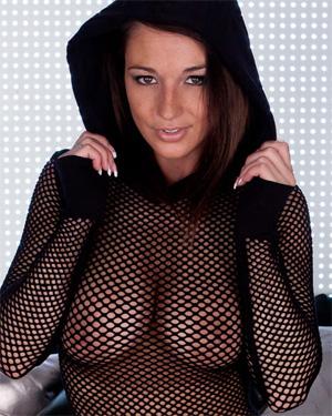 Nikki Sims Black Hooded Mesh
