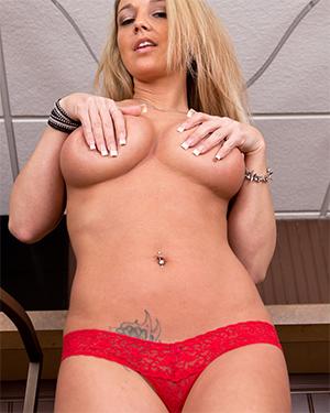 Nikki Sims Shredded Jeans and Naked