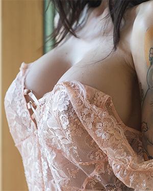 Rebyt Suicidegirl Takes Off Her Pink Lace Bodysuit