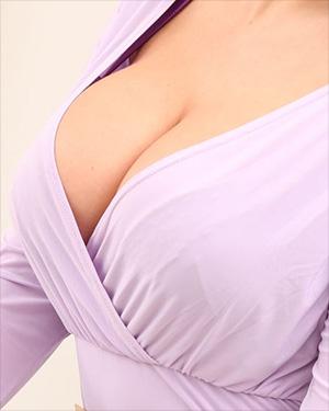 Sarah James Purple Dress Mega Cleavage